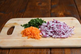 切块哈瓦那辣椒、切块红洋葱和切碎香菜