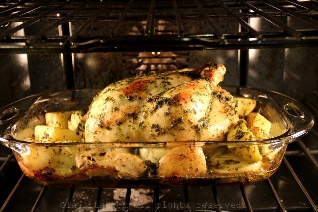 烤鸡30分钟,华氏425度