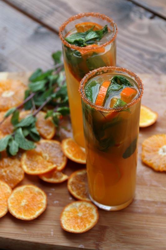 蜜桔、橘子或克里曼丁红橘莫希托