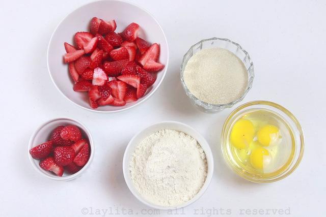 自制草莓蛋糕的材料