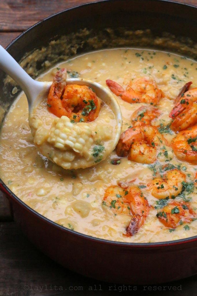 土豆玉米虾杂烩汤