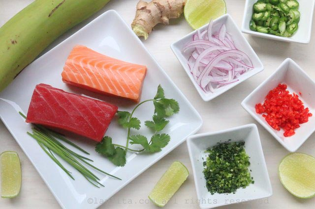 柠汁腌三文鱼和金枪鱼粒的食材