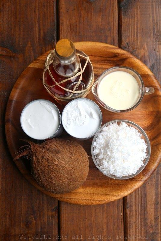 椰子冰淇淋的食材
