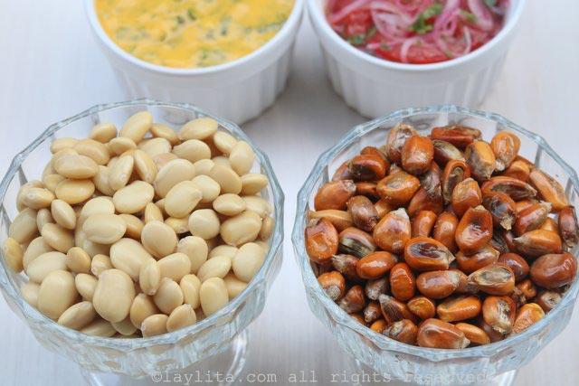 羽扇豆/chochos以及烤玉米坚果