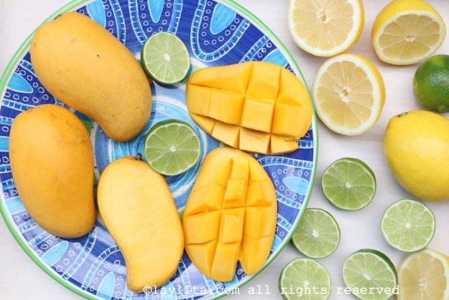 芒果柠檬汁或青柠汁的食材
