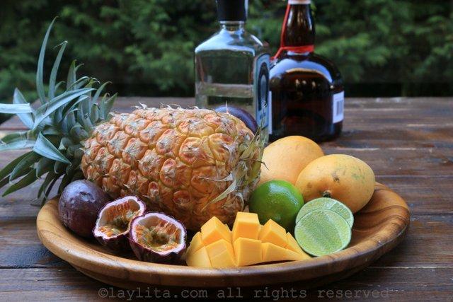 热带玛格丽塔酒的材料