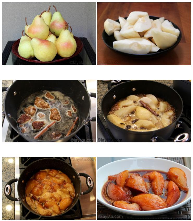 如何用五香panela/piloncillo黑糖浆做焦糖梨子