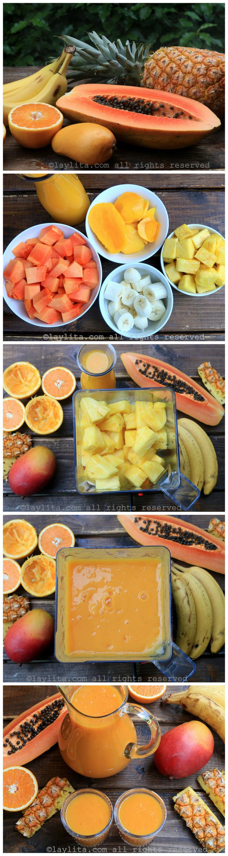 准备热带水果冰沙