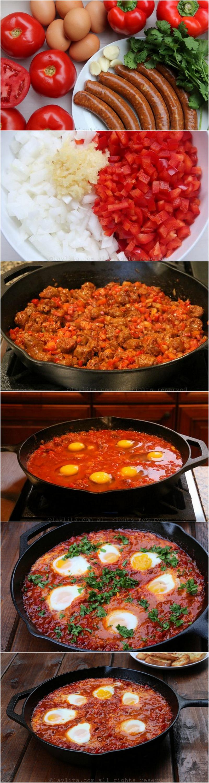 如何做北非蛋配香肠或羊肉香辣肠